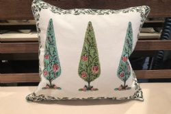 Hand Block Print Cushion with Cypress Tree